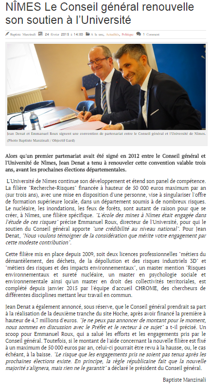 Subvention CRA - article Objectif Gard